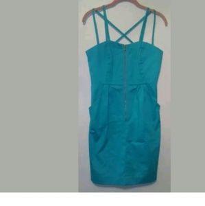 Nicole miller blue turquoise dress net size 6