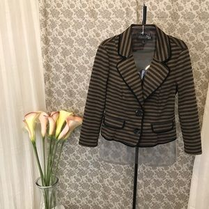 Cropped Brown & Gray Striped Casual Blazer