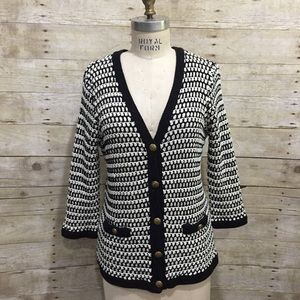 CAbi | Black White Knit Coco Cardigan