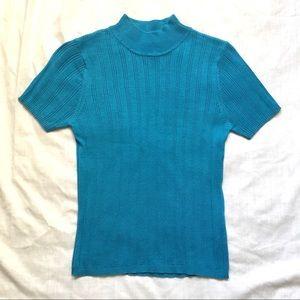 Blue Rib Knit Mock Turtleneck Short Sleeve Top