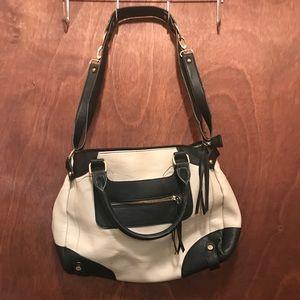 Black/cream leather shoulder bag