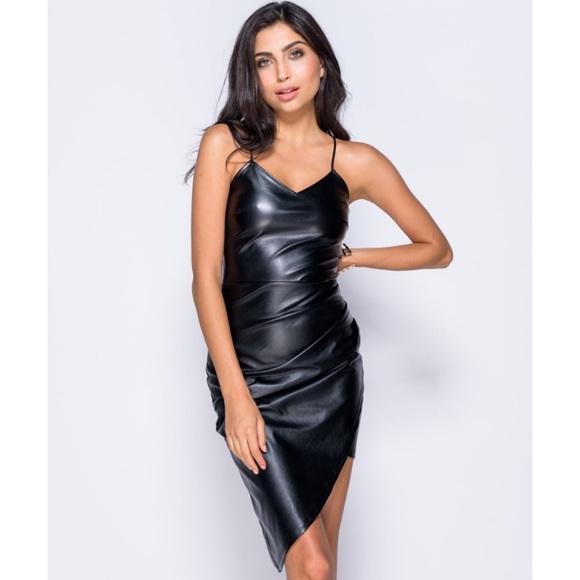 Spaghetti Strap Leather Dress