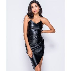 🆕 Black Spaghetti Strap Vegan Leather Wrap Dress