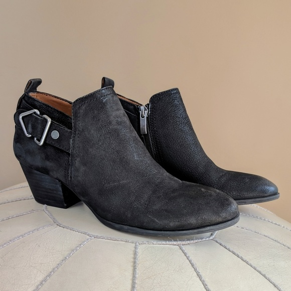 Franco Sarto Black Leather Garfield Ankle Boots 6