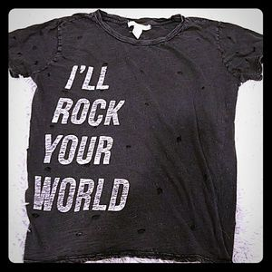 Sexy distressed rock and roll t shirt top