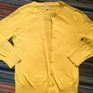 J. Crew Yellow Cotton Cardigan...Size S