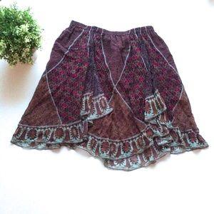 Marchesa Voyage Silk Frill Print Skirt Small