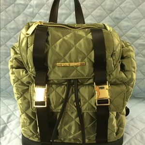 NEW Steve Madden Quilted Olive Green Backpack