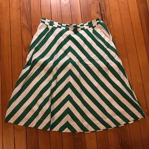 Anthropologie green and white chevron A-line skirt