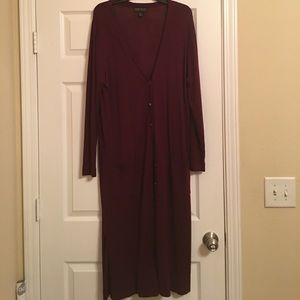 Long Sweater Size 2X Burgandy