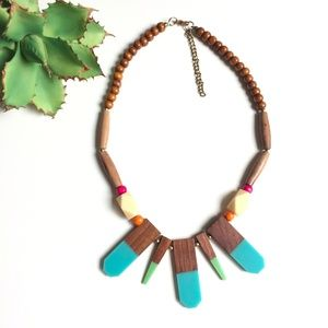 Wood Colorblock Geometric Necklace