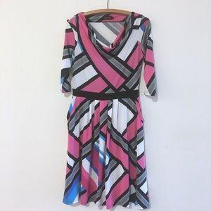 Reborn Scoop Neck Half Sleeve Midi Pocket Dress