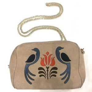 Urban Outfitter Suede Tan Cross-body with Peacock
