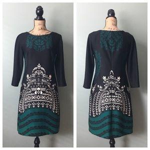 Donna Morgan size 6 black green 3/4 sleeve dress!
