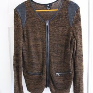 H&M Black and Brown Textured Zip Sweater
