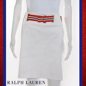 RALPH LAUREN Wht Straight Stripe Belt Pencil Skirt