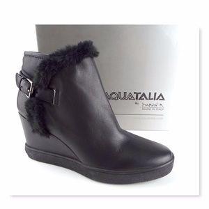 New AQUATALIA  Black Leather Wedge Boots