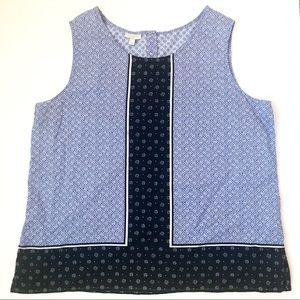 Talbots LARGE Work top Sleeveless Cotton Geometric