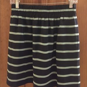 Club Monaco navy and green striped miniskirt