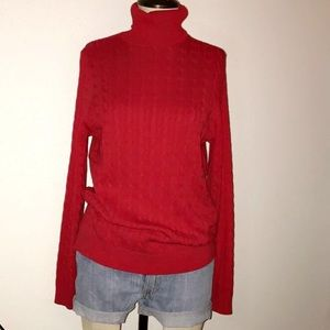 Lands End turtle neck red top