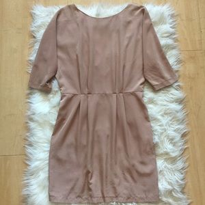 EUC Topshop Nude Tan Statement Zipper Dress