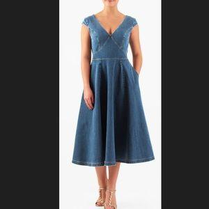 New Eshakti Denim Fit & Flare Dress L 12