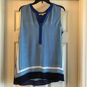 XL LOFT sleeveless blue top
