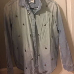 Denim button up with small crystals.