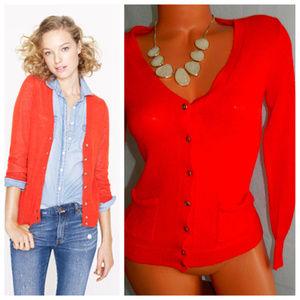 J CREW Cardigan Sweater ALPACA WOOL Small ORANGE