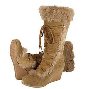 Bearpaw Kaska Suede Fur Trim Wedge Boot Sz 10 9