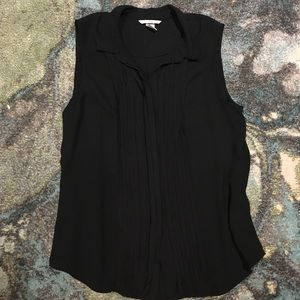 Black Button Up Fringe Front Chiffon Tank