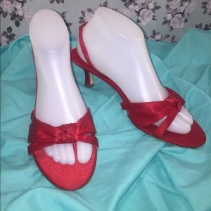 NINA Red Satin Strappy Kitten Heels