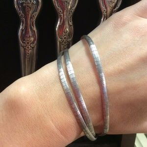 Triple Sterling Silver Snake-chain Bracelet
