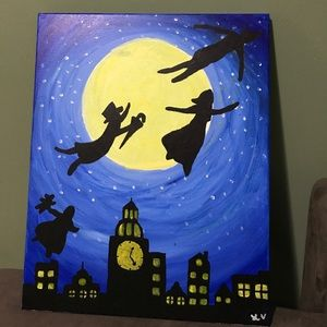 "Peter Pan inspired ""You can fly!"" painting"