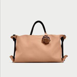 ZARA Pink City Bag with Flower Pendant