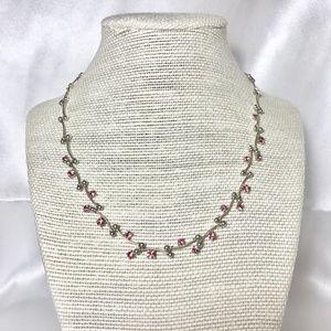 Jewelry - Pink Rhinestone Silver Tone Princess Necklace