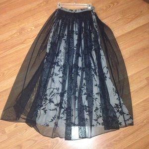 NWOT Dana Buchman luxe layered floral maxi skirt