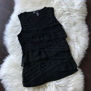 Cable & Gauge Black Ruffle Tank Top S