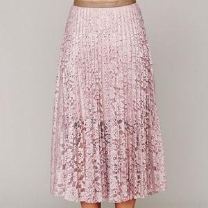 Free People Pretty Pleats Lace Maxi Skirt