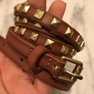 J crew brown leather gold studded belt