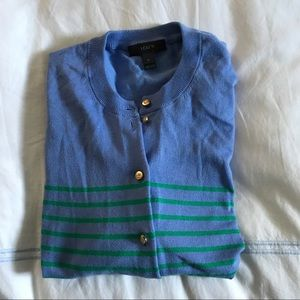 Jcrew periwinkle and green cardigan