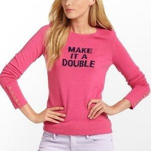 """Lilly Pulitzer """"Make It a Double"""" pink sweater S"""