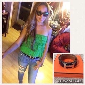Preloved authentic Hermes belt reversible