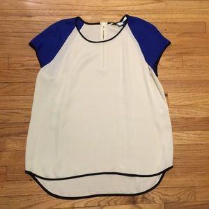 Diane Von Furstenberg white/blue silk shirt - Lg