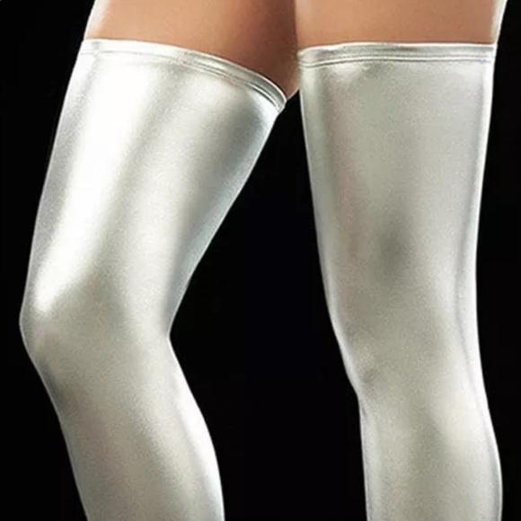 8875db43787 Silver costume knee socks thigh highs unicorn