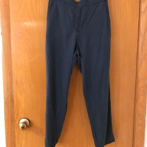 Loose navy silk-like pants from Gap