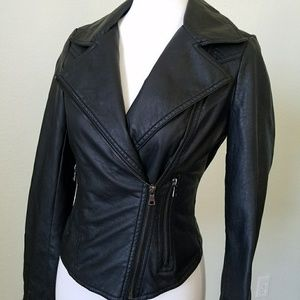 THERAPY FAUX LEATHER MOTO JACKET| SMALL