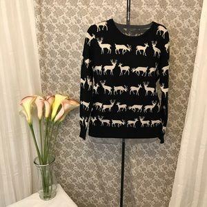 Black & Gold Sparkly Reindeer Sweater
