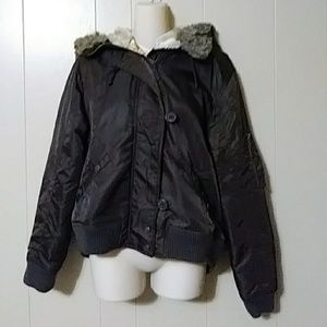 Brown bomber jacket Old Navy XL with faux fur hood
