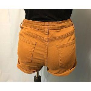 Forever 21 mustard denim shorts